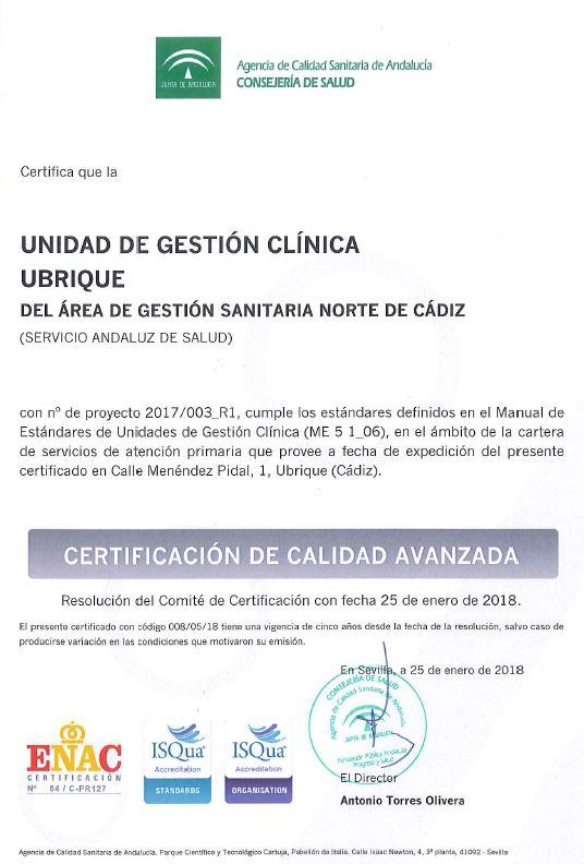 Certificado UGC Ubrique