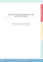 MEMORIA Produccion Cientifica 2014 AGS NORTE DE CADIZ