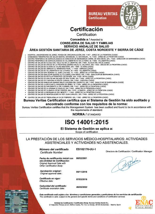 Certificacion ISO 14001:2015